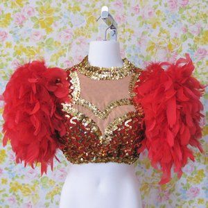 Feathered Crop Top Red Gold Sequins Costume